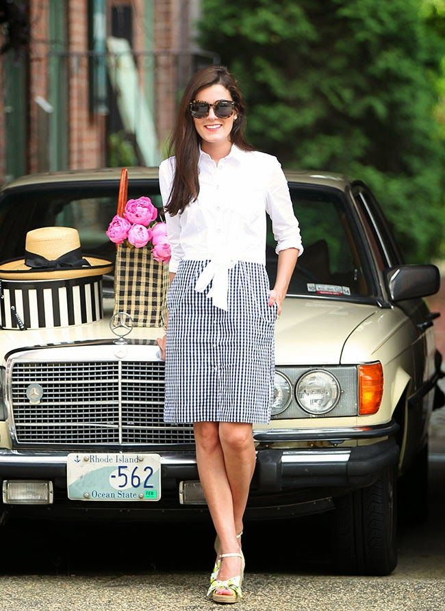 Gingham, sun hats, and peonies