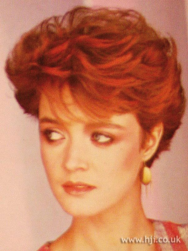 1984 Short Crop Hairstyle Short Permed Teased Pinterest
