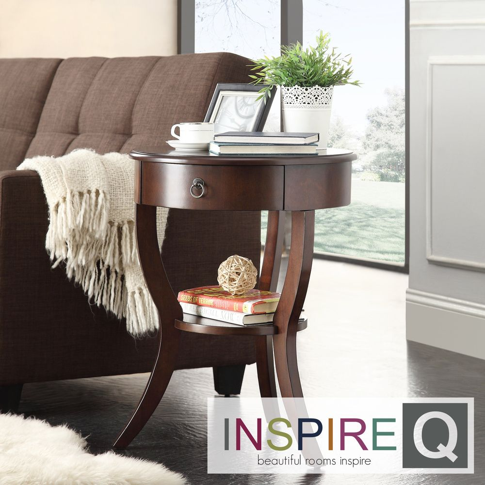 Inspire Q Neo Cherry Brown Oval Curvilinear Legged Nightstand |  Overstock.com Shopping - Great