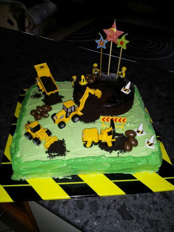 Remarkable Construction Cake For My 3 Year Old Boy Store Bought Sponge Slab Personalised Birthday Cards Veneteletsinfo