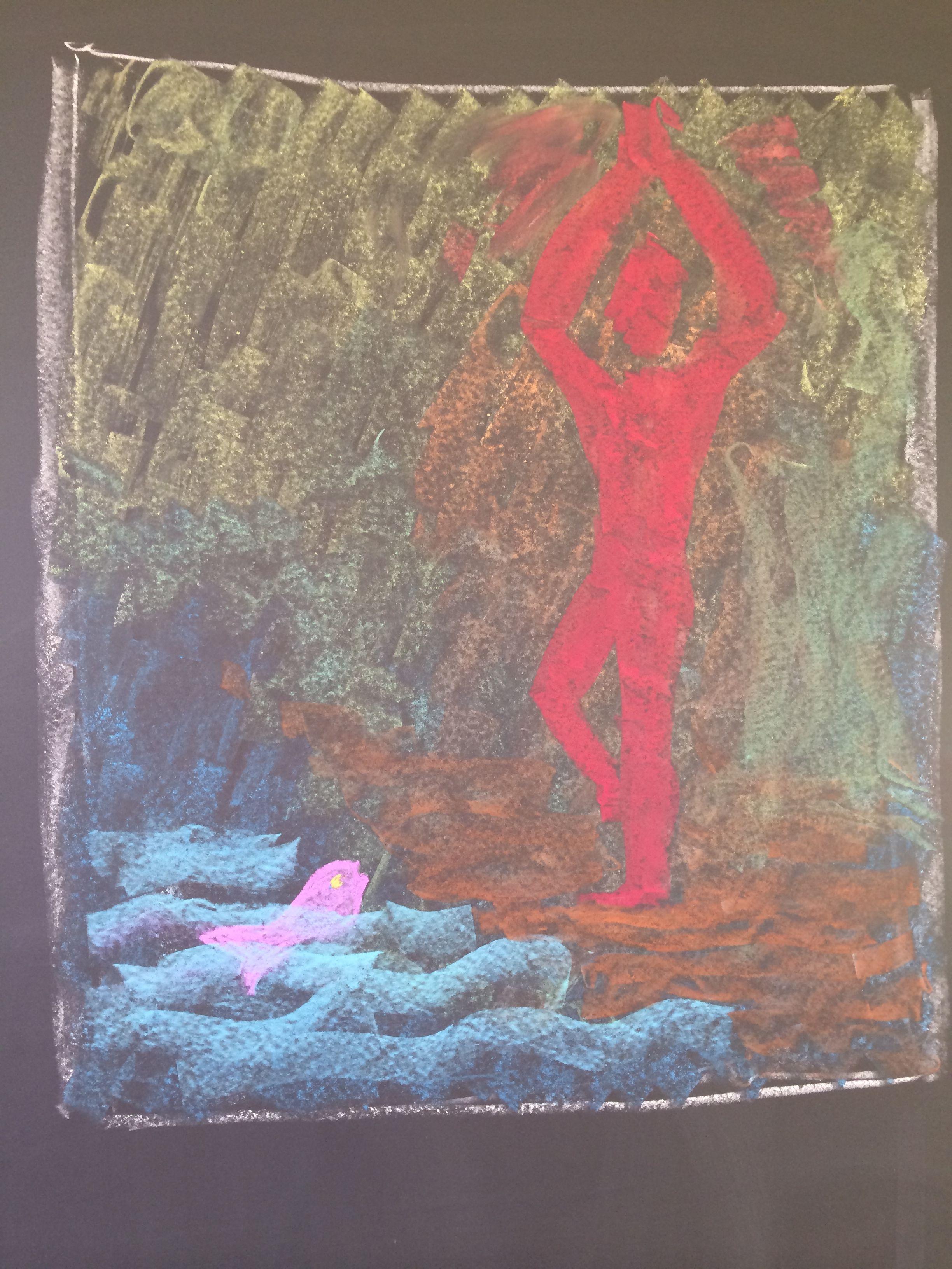 Voorbeeldtekening voor de kinderen. Verhaal: Manu en de vis