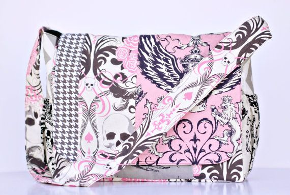 Punk Rock Skull Pink Ss Diaper Bag Ooak By Rockerbyebaby 104 99