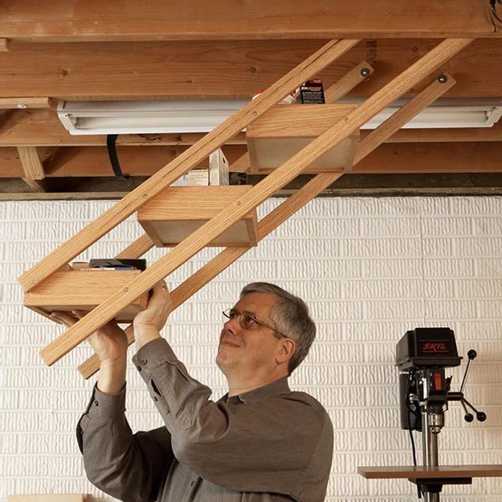 Overhead swingdown shop storage woodworking plan workshop u jigs