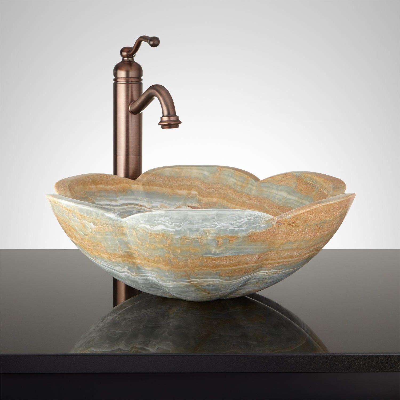 Sentul Blue Onyx Flower Vessel Sink Vessel Sinks Bathroom
