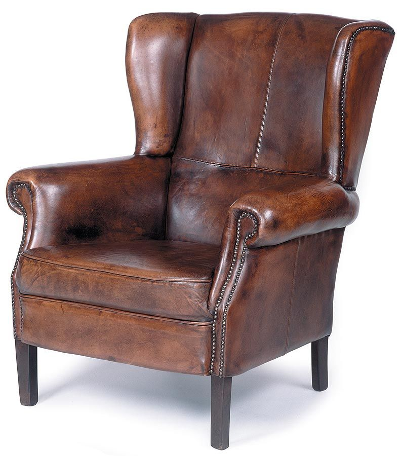 Traditional Wing Back Leather Chair W Nailhead Trim, Wood Legs