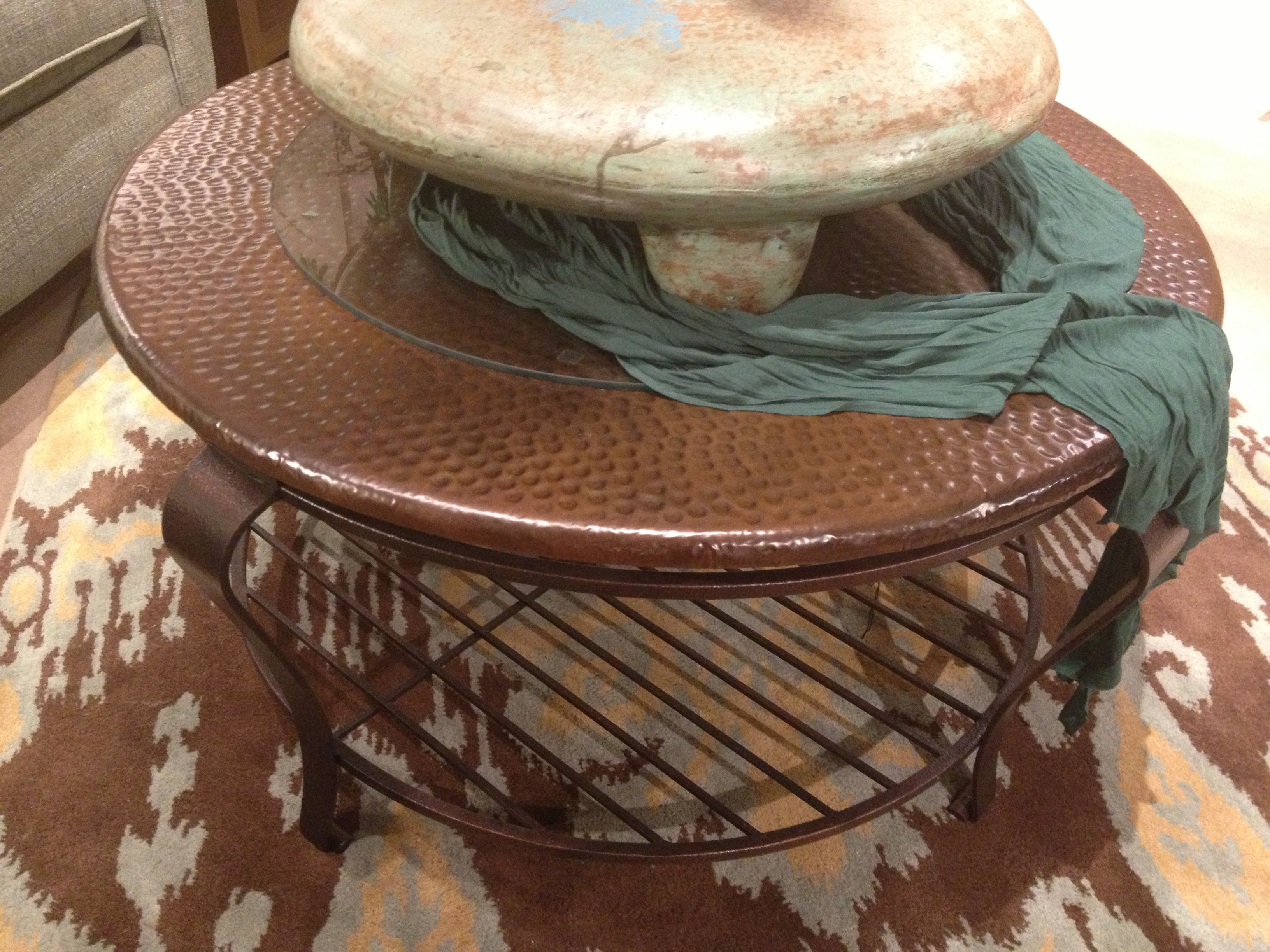 Round Copper Coffee Table Tim & Stacy LR Table Ideas