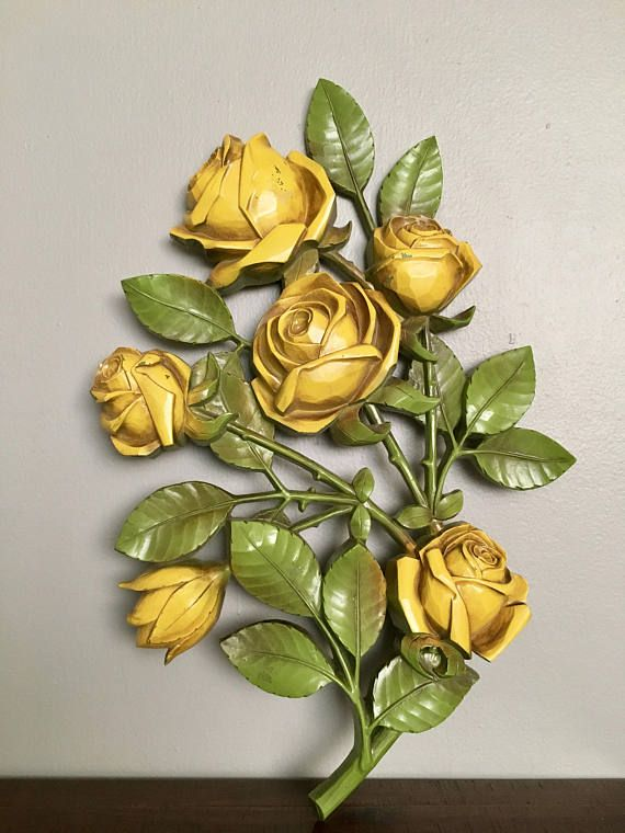 Vintage 1960s Yellow Roses Wall Hanging By Sycoco / Mid Century ...