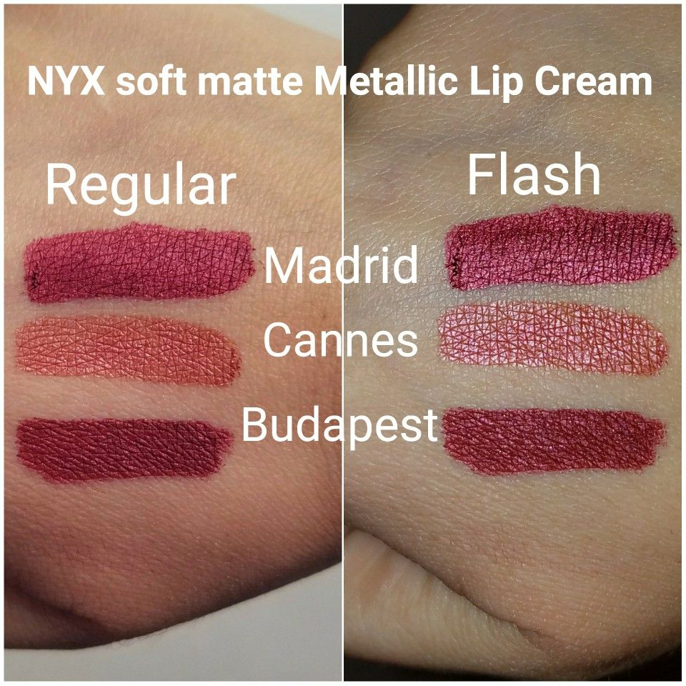 New Nyx Soft Matte Metallic Lip Cream Swatch In Madrid Cannes And