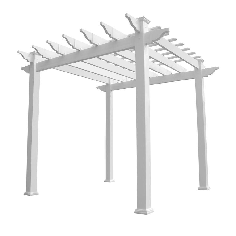 White Vinyl Pergola, Whites - Weatherables Royal 96 In. X 88 In. White Vinyl Pergola, Whites