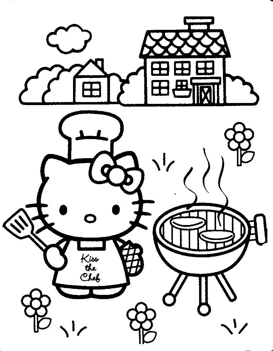 Coloring pages indiana jones - Hello Kitty Hello Kitty Is Cooking A Barbecue Coloring Page