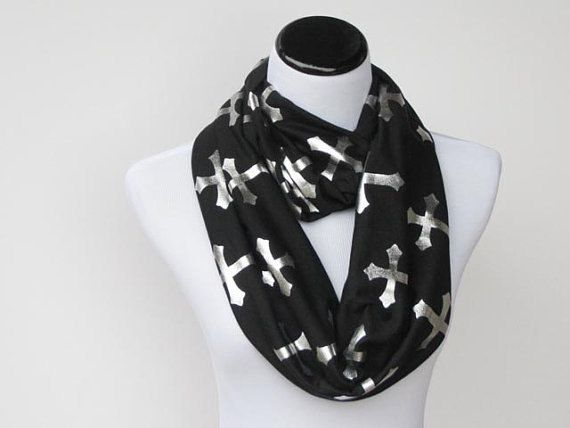 infinity scarf black and sparkle gothic cross jersey knit scarf - black scary infinity scarf - gift idea for Gothic girl by HappyScarvesByLesya on Etsy