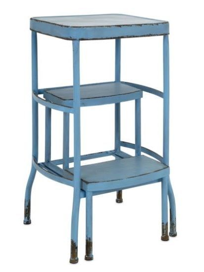 Antique Vintage Bar Step Stool Kitchen Counter Height Rustic Blue Metal Retro With Images Vintage Bar Step Stool Rustic Blue