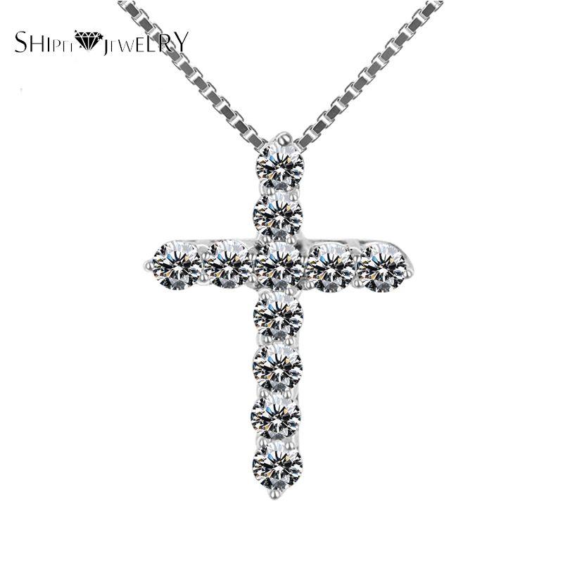 Gioielli fatti a mano! SHIPEI 2017 Collana Pendente Croce in Placcato Oro Bianco con 11 Diamanti Imitazione, Collana di modo per Le Donne
