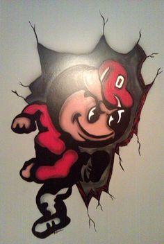 Ohio State Wall Art buckeye ohio state fan art | brutus buckeye wall mural