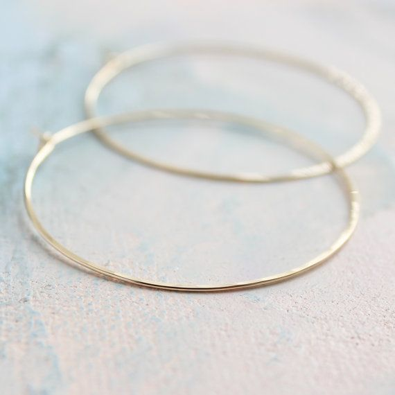 Thin Gold Hoop Earrings Large 2 Earings Hoops Minimalist Pinterest