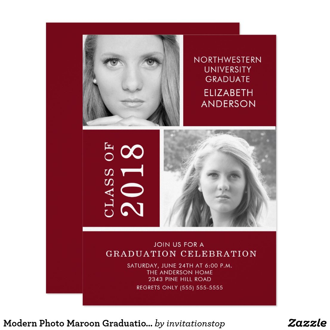 Modern Photo Maroon Graduation Invitation | Graduation Invitations ...