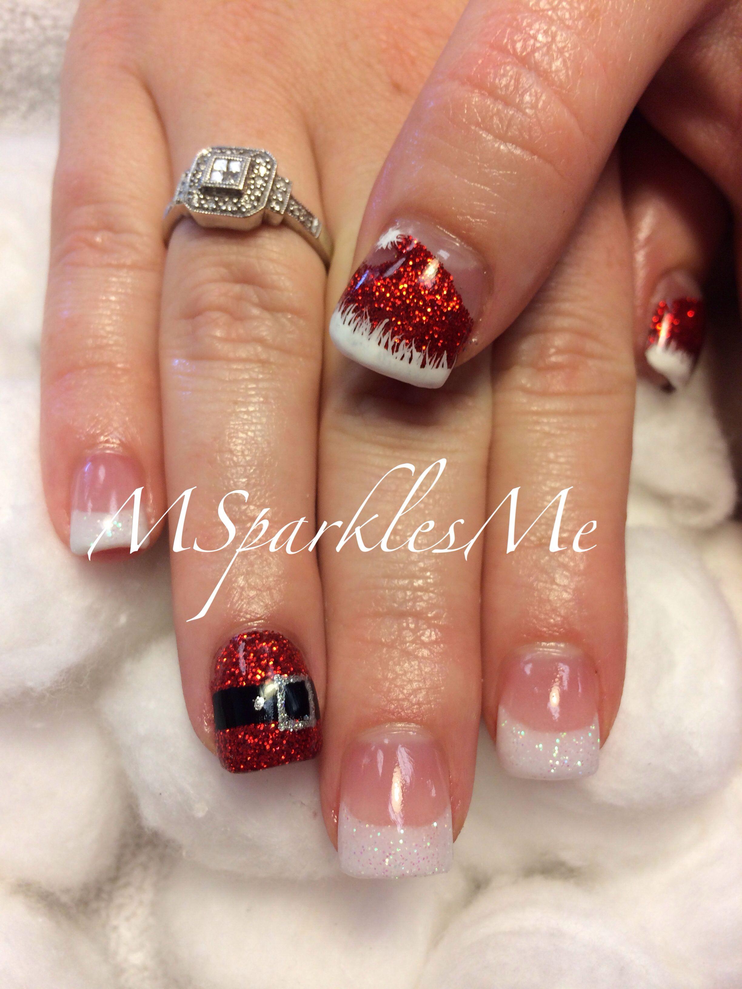 Santa Hat Tip Nails Santa Nails Holiday Nails Christmas Gel Nails