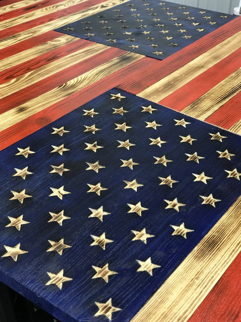 Glossy Burnt American Flag With Etched Stars In 2019