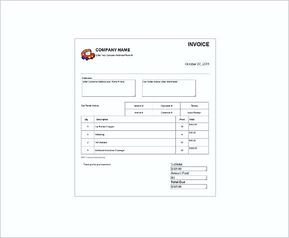Car rent Receipt templates , Rent Invoice Template , Knowing Some - rent invoice template excel