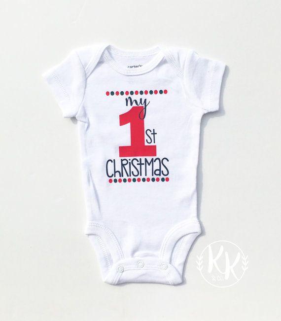 09ba3f177 My 1st Christmas, My First Christmas Onesie, Babys First Christmas, Christmas  Shirt Boy, Personalized Christmas Shirt