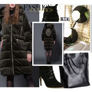 Hooded Embroidered Striped Down Coat