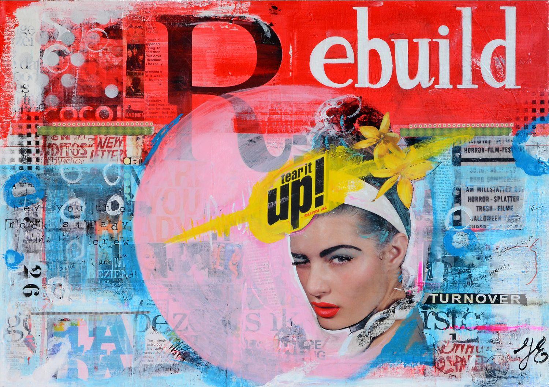 'Coco Loco', 50x70cm, collage / acryl en mixed media op doek.