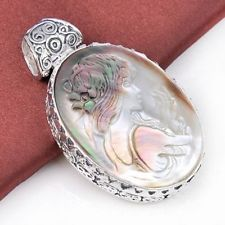Valentine natural carved cameo shell gemstone vintage silver valentine natural carved cameo shell gemstone vintage silver necklace pendant aloadofball Choice Image