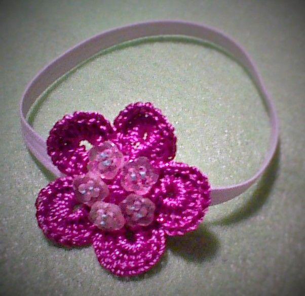 Coleta para el cabello #flor #crochet #botón