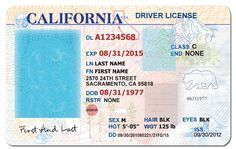 California Drivers License Template