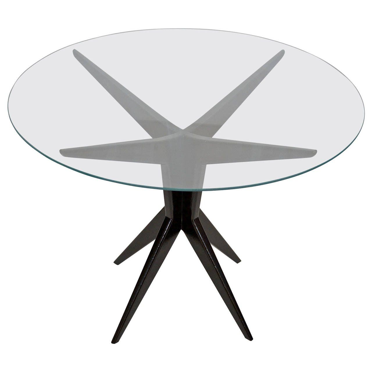 Italian Glass Top Round Occasional Table  Tables Rounding and