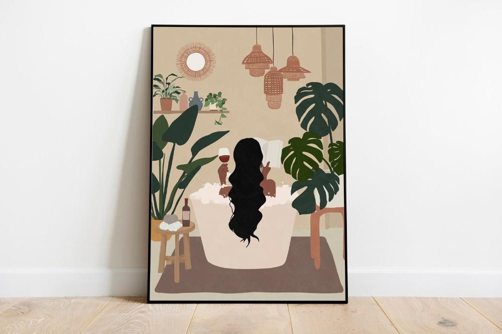 Woman Read Book In Bath Tub Art Black Woman Art Female Etsy Earth Tone Wall Art Mid Century Wall Art Boho Wall Art