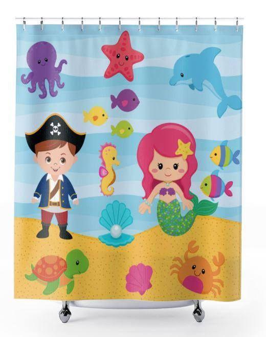 Pirate Mermaid Shower Curtain Sea Animals Shower Curtain Pirate