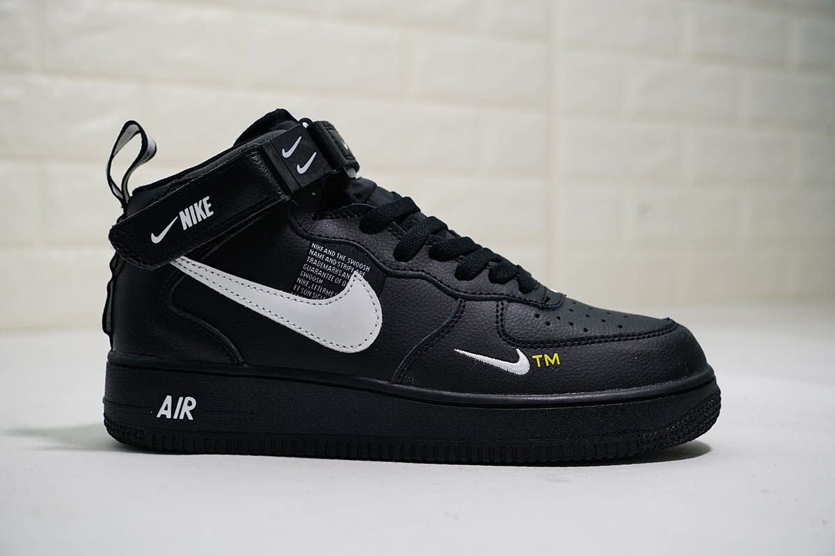Black Nike Air Force 1 Mid 07 L V 8 Utility Pack Double Swoosh Nike Air Force Nike Shoes Mens Casual Nike