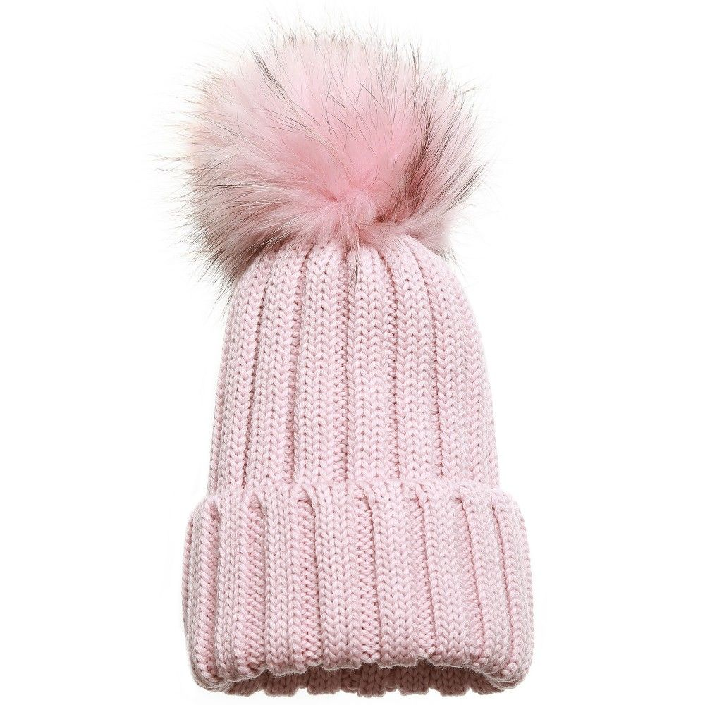3fefc67b63e Catya - Girls Pink Knitted Hat with Fur Pom-Pom