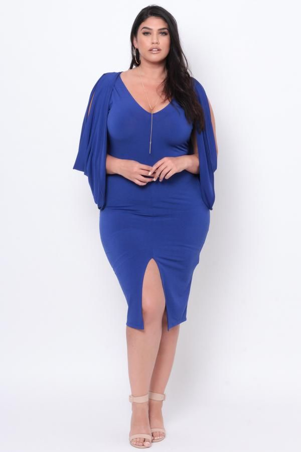 68967ba03df4 Plus Size Cold Shoulder Grecian Dress - Royal Blue