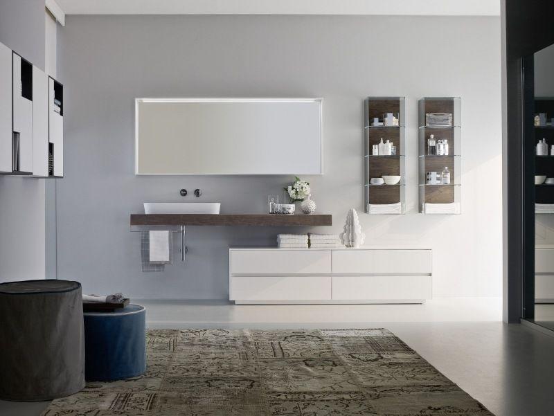 Weiße Badmöbel - Unterschrank und Waschtisch aus Holz Bad - badezimmerm bel set holz