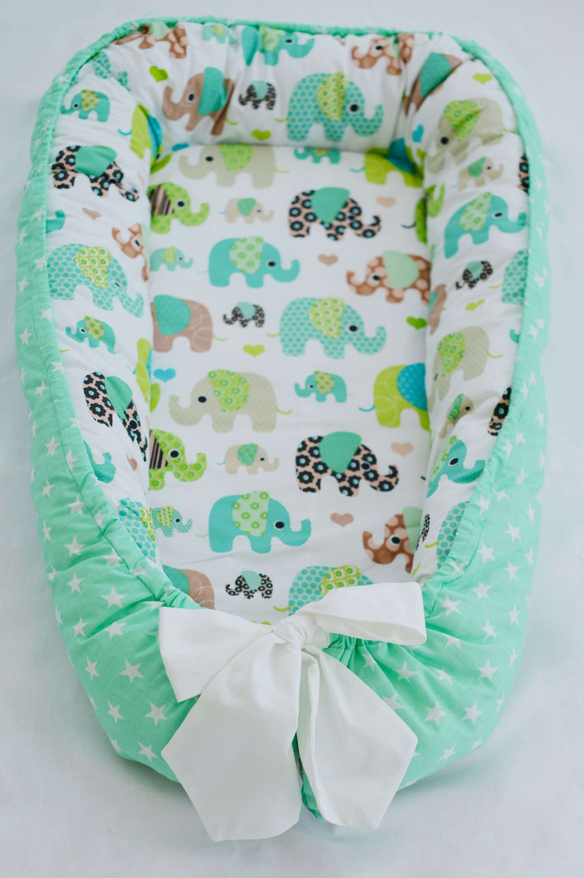 Baby Nest, Double-sided, Mint Elephant, Baby Accessories