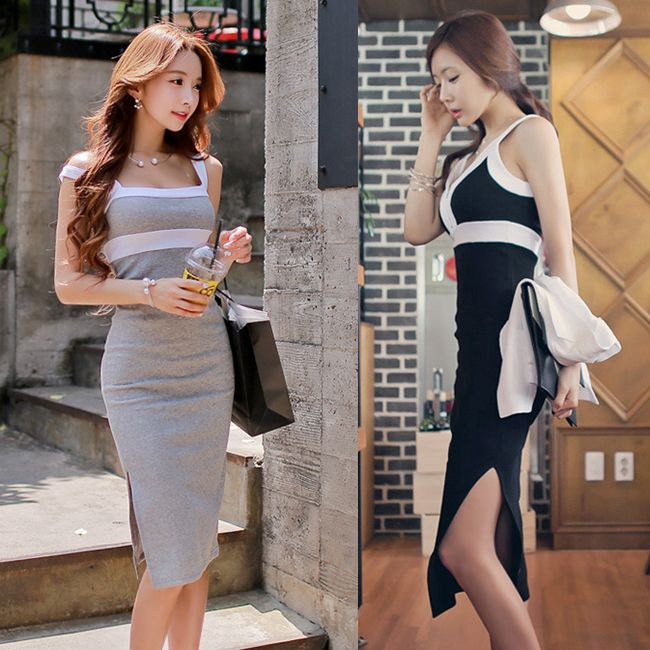 Goddess Paragraph Nightclub Hit Color Sexy Deep V-Neck Slim Sleeveless Vest Skirt Side Slit Skirt Package Hip Skirt Dress