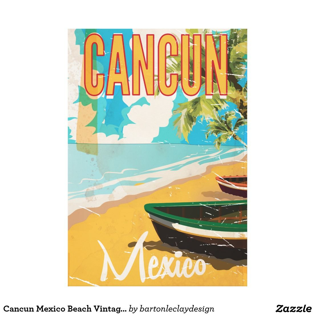 Cancun Mexico Beach Vintage Travel Poster Print Zazzle Com Vintage Travel Posters Poster Prints Travel Posters