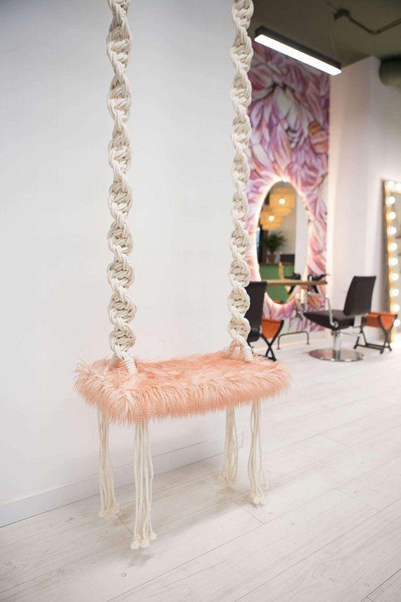 Macrame Swing, Macrame Hanging Chair, Indoor swing, Boho hammock, Art hammock, Wooden swing, Outdoor swing, Boho garden decor, Wedding decor