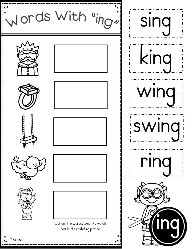 Word Family ING Phonics Practice Printables   Word family worksheets [ 1056 x 816 Pixel ]