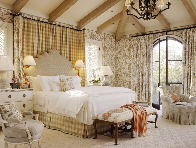 Using Wallpaper And Various Fabrics Creates An Inviting And Cozy Space In French Country Decorating Bedroom Country Style Bedroom French Country Style Bedroom,Layout Something Gotta Give House Floor Plan