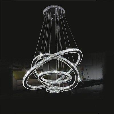 Modern Galaxy Crystal Diy Chandelier 4 Circle Pendant Led Light