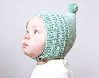 f94e069068e Knit Baby Pixie Bonnet - Merino Wool Pixie Hat - Newborn Knit Hat - Pompom  Knit Hat - Childrens Knit Bonnet - Pixie Hat - Choose Your Color