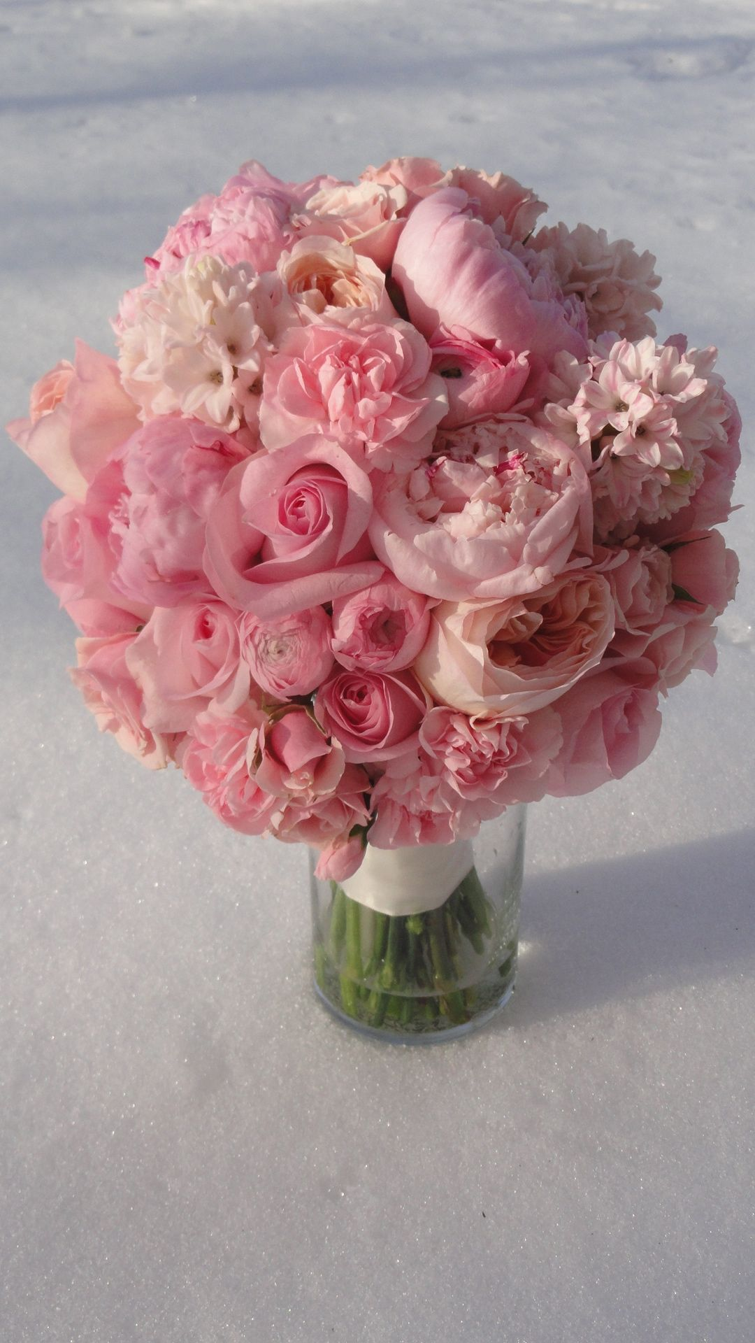 All Pink Bouquet Peons Roses Hyacinth Garden Rose In All Shades