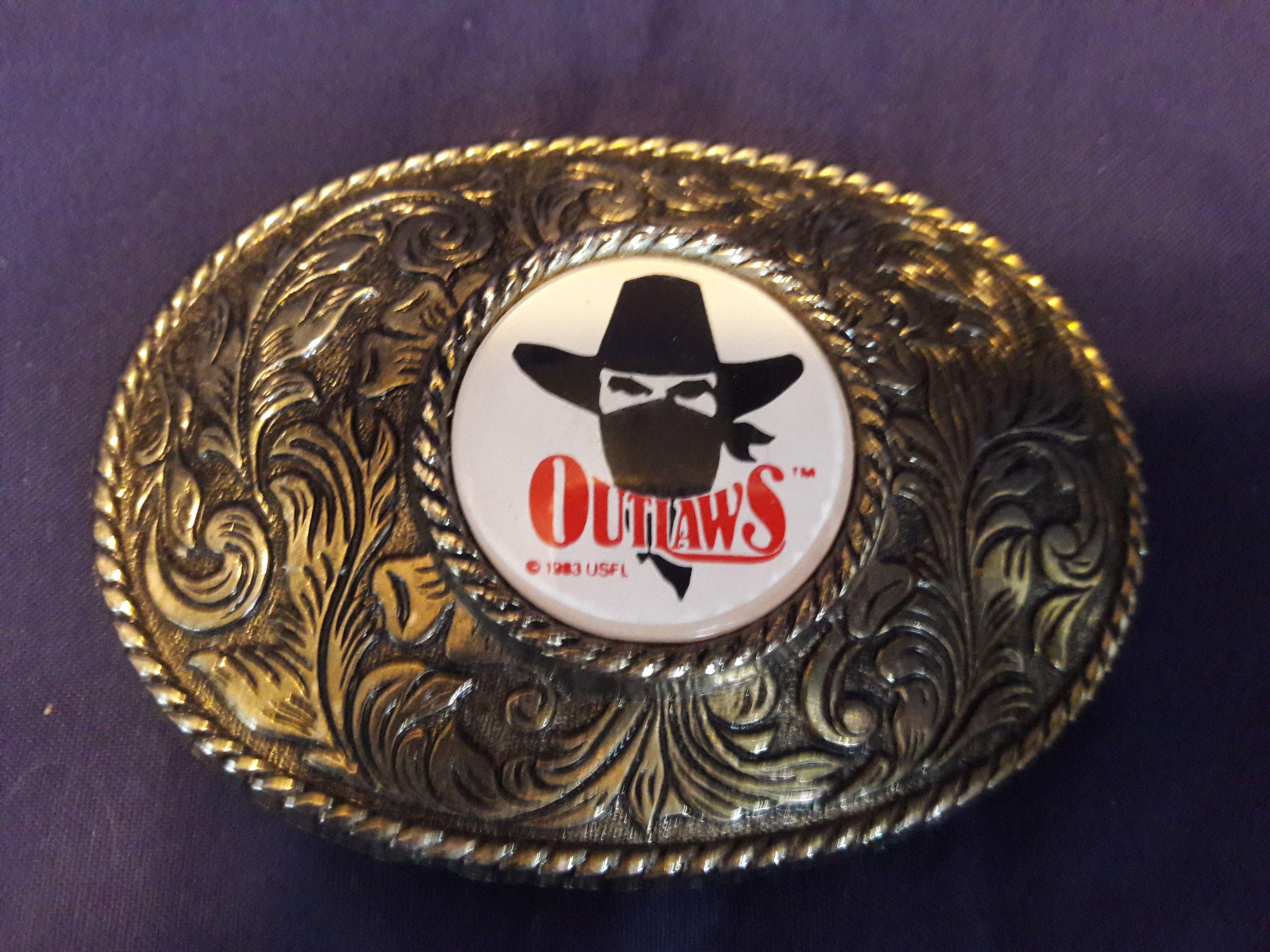 Rare 1983 USFL Oklahoma Outlaws Metal and Inlay Belt Buckle