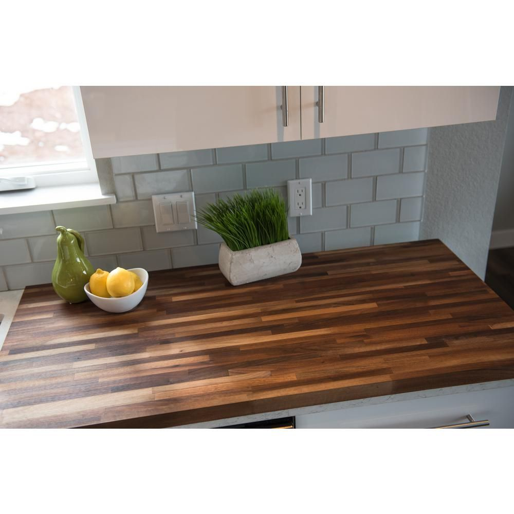 Hardwood Reflections 50 In L X 25 In D X 1 5 In T Wood Butcher Walnut Butcher Block Countertops Butcher Block Countertops Kitchen Butcher Block Countertops