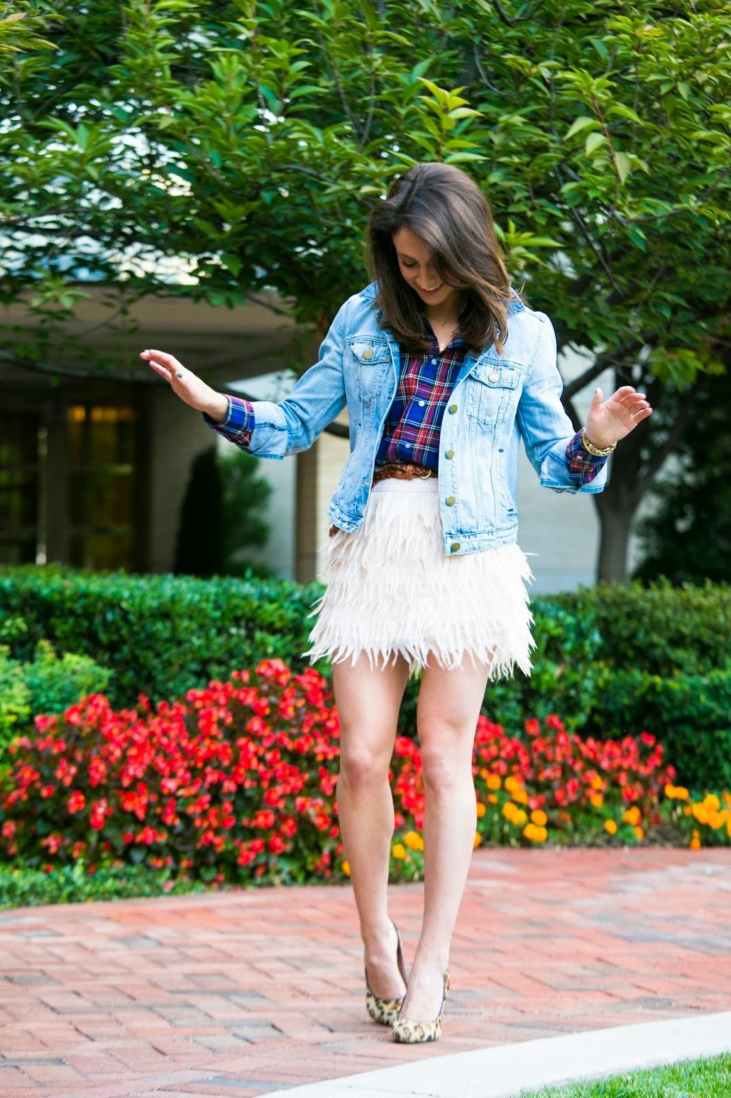 Dress up flannel shirt  This is a fun look  Great way to dress up a plaid shirt with
