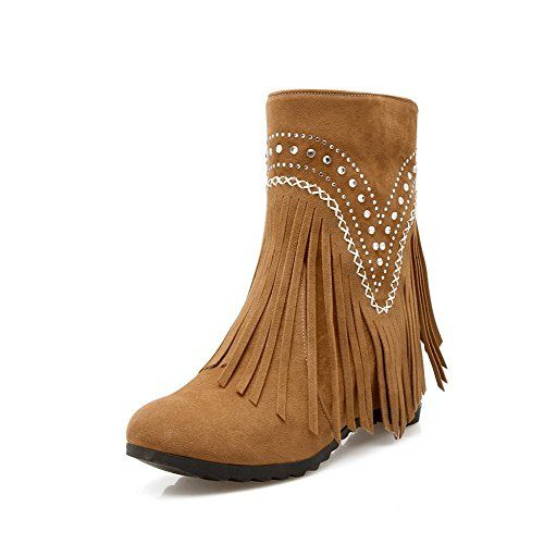 Women's Frosted Low Top Fringed Pull On High Heels Boots