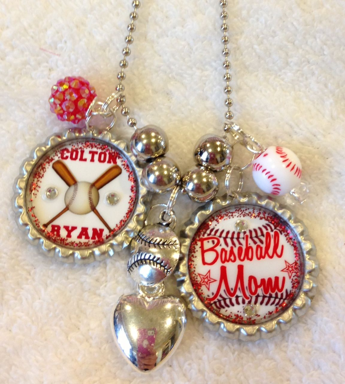 Bottle cap necklaces for any occasion, sports, graduation, schools etc. I custom make these so pretty much anything can be done :) Contact me for more info.  Baseball, end of year gift, party favors etc. Contact me at Facebook.com/bowlicious4me